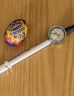 Birzman Zacoo Macht shock pump (Creme Egg for sizing purposes only, not testing)