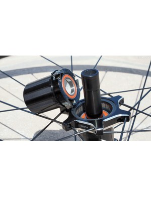 The conventional three-pawl driver mechanism boasts a ten-degree engagement speed. Freehub bodies will be available to fit SRAM, Shimano, Campagnolo, and even SRAM XD cassettes