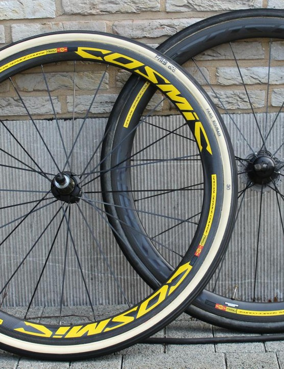 Mavic makes team-edition Paris-Roubaix wheels, with 24 spokes front and rear (compared to 20 and 16 for consumer Cosmics