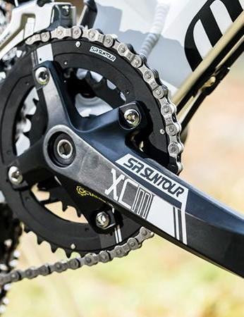 The Suntour chainset is an easy place to drop weight