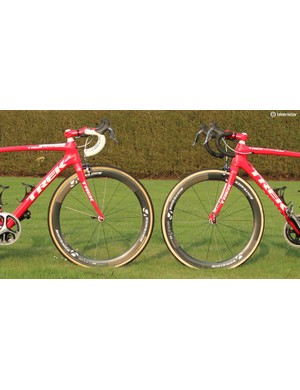 Trek's Stijn Devolder has two different Domane bikes for the cobbled classics: The Domane Koppenberg at right for Flanders and the Domane Classics at left for Paris-Roubaix