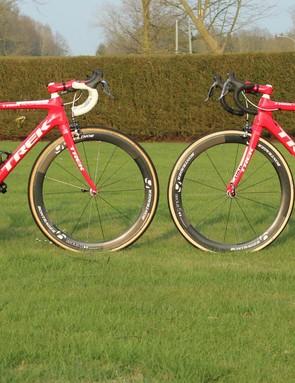 The Domane Koppenberg has the geometry identical to Trek's climbing bike, the Emonda. The Domane Classics is longer and lower