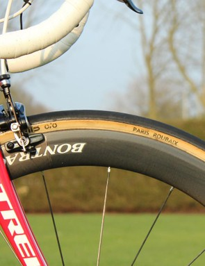 Trek has likely the skinniest tubulars for Paris-Roubaix at 27mm. Trek says this is because the Domane is such a compliant frameset