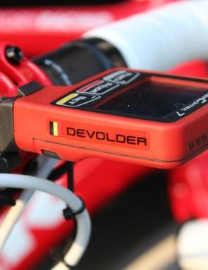Devolder has an SRM head unit on his bike, but no SRM power meter for Paris-Roubaix