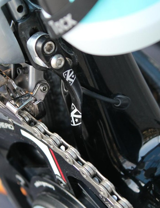 K-Edge has three small but critical pieces on the Etixx bikes. This is the small company's chain catcher
