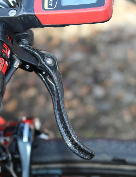 Van Avermaet ran a single bar-top brake lever, plus a Di2 climbing switch
