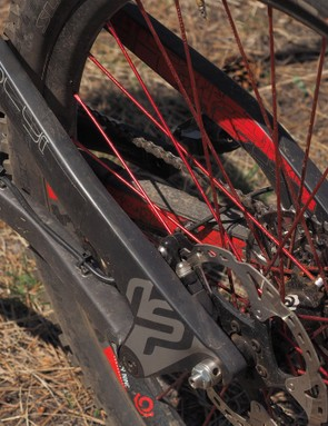 The ultra-wide carbon seatstays are a known issue for riders with big feet or who pedal with their toes angled outward. My feet thankfully point straight fore-and-aft so heel rub hasn't been an issue. The stoutness of those huge stays, however, has proven to be a boon on fast, technical terrain