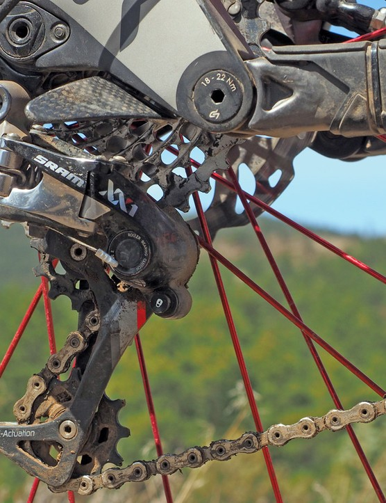 I'm a big believer in wide-range 1x mountain bike drivetrains, even here in Colorado where climbs can easily last an hour or more. The SRAM XX1 setup has been bulletproof since day, and it's one of just a handful of items from the stock build that I kept intact (the other being the Avid X0 Trail brakes)