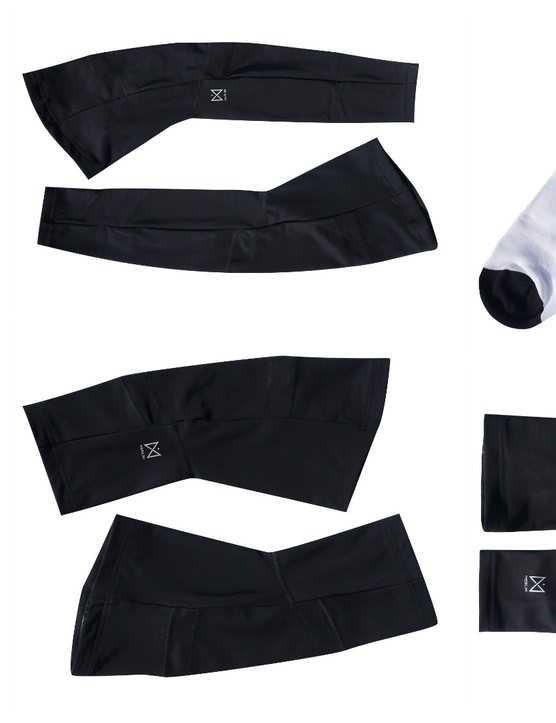 There are three bib short options as well as arm, leg and knee warmers, plus socks