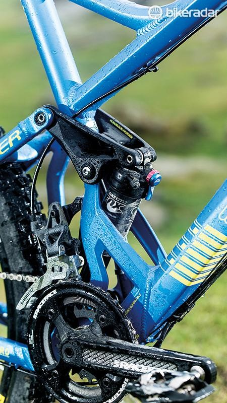 The multi-link Zero suspension setup performed admirably, but the double-ring SRAM drivetrain is a step below what's on many of the Foxy's peers