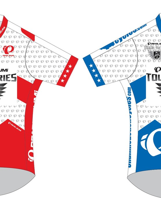 The men will be seeking out these jerseys: red for the leading team, blue for the points competition