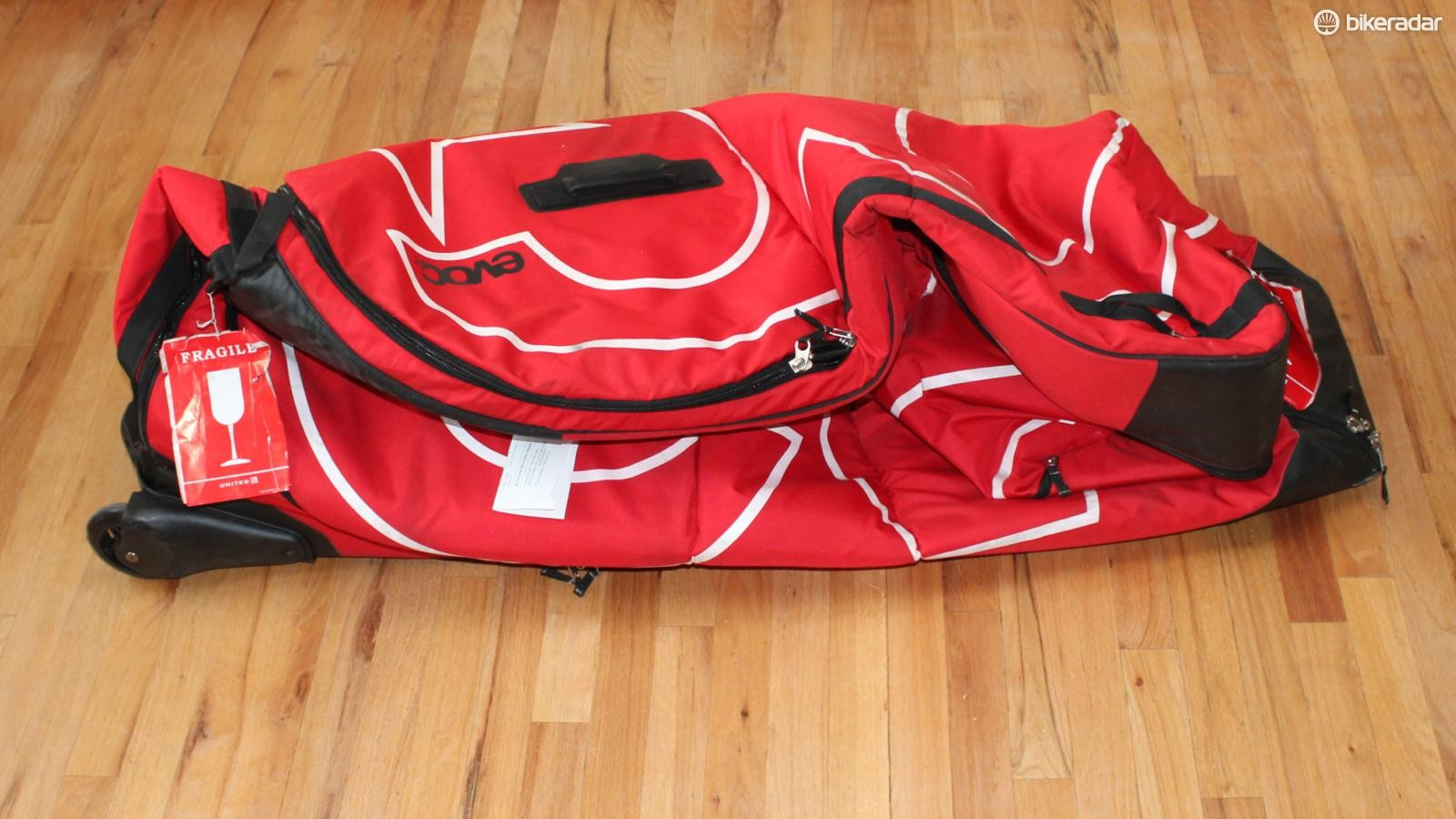 The EVOC Bike Travel Bag folds down nearly flat, which can be handy when traveling — or for storage