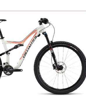 The mid-range Specialized Rumor Comp 650b features a RockShox Revelation RC3 130mm fork, SRAM 2x10 drivetrain and Shimano hydraulic disc brakes - but no dropper seatpost