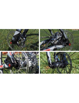 Thru-axles and disc brakes were chosen for the new design from the outset. While the rear end uses the current 142x12mm axle size, the front end uses the new 100x12mm standard