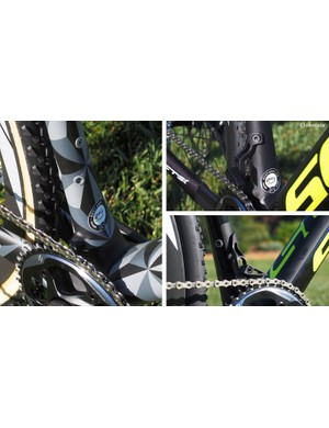 The bike can be set up in a number of different configurations. The front derailleur tab and integrated chain keeper can be removed when using a 1x setup and replaced with a slick mini-chain guide that supposedly weighs just 22g