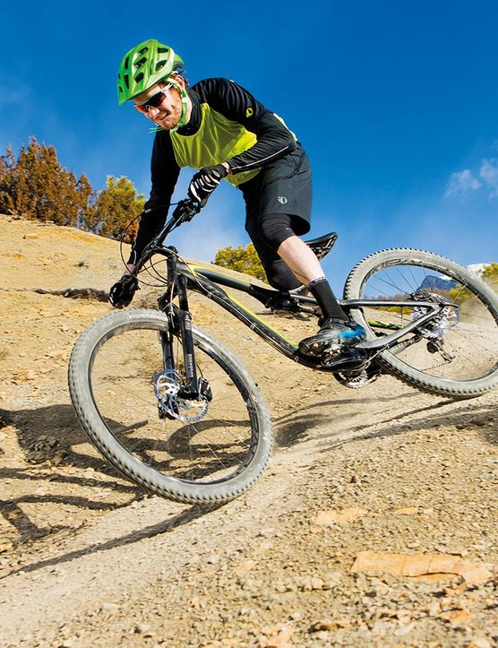 It's perfect for big mileage trail riders, but the Stumpy's flexy fork and steeper front end mean it suffers when the riding gets wild