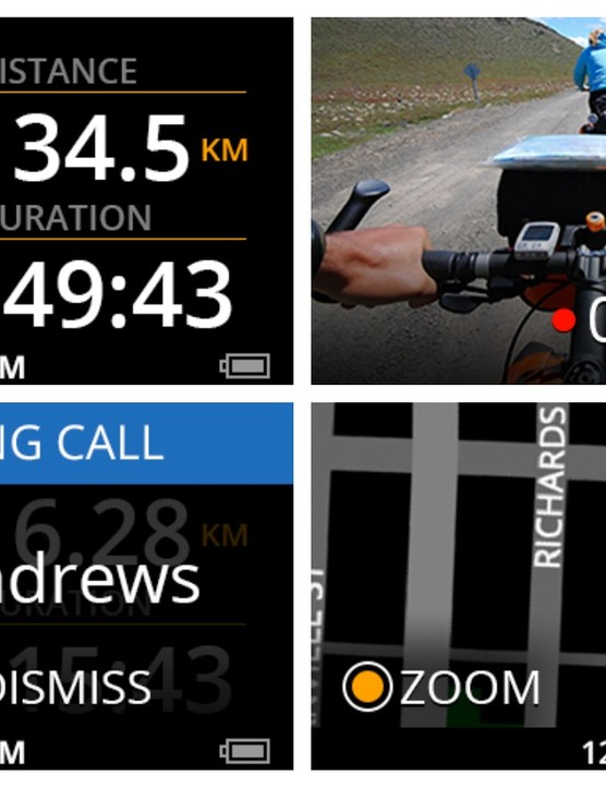 A few of the screens on the Recon Jet: ride data; video recording; incoming calls; and mapping