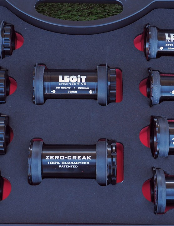Legit Engineering offers its intriguing thread-together bottom bracket in twelve different versions to accommodate nearly any combination of press-fit shell and crank spindle