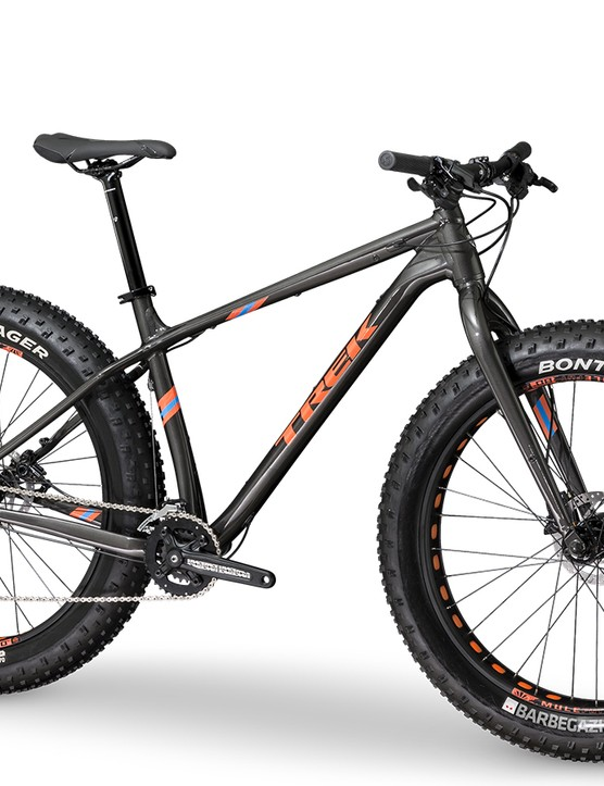 The entry-level Farley 5 features Bontrager's new Barbegazi 26x4.7in tires, a rigid alloy fork and 2x10 Shimano Deore drivetrain. It will be available this August