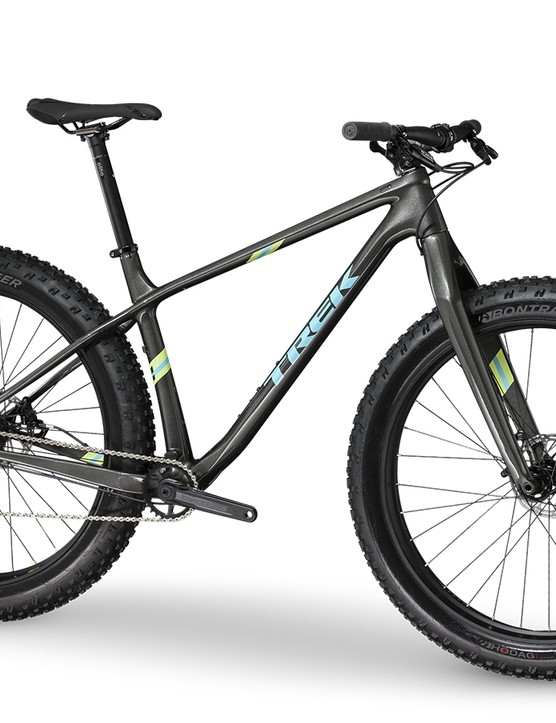 Trek's entry-level carbon Farley 9.6 will come with a Haru carbon/alloy rigid fork, 27.5in Bontrager Jackalope wheels and Hodag tires, and a SRAM GX1drivetrain. It will be available this September