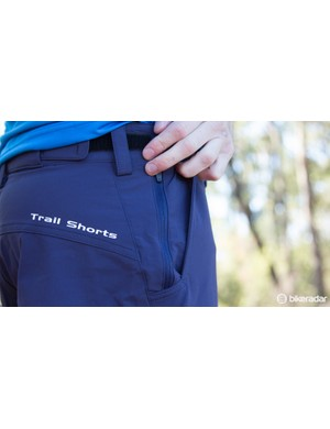 A zippered stash pocket on the right hip is easily large enough for a modern smartphone
