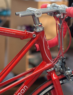 The stem is adjustable via a rail and clamp system similar to what you'd normally see on a seatpost/saddle