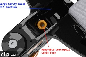 A centre-pull brake cable can be threaded through the stem
