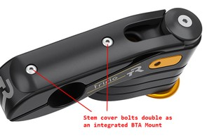 The stem cap hides cables and allows a bottle cage to be mounted here