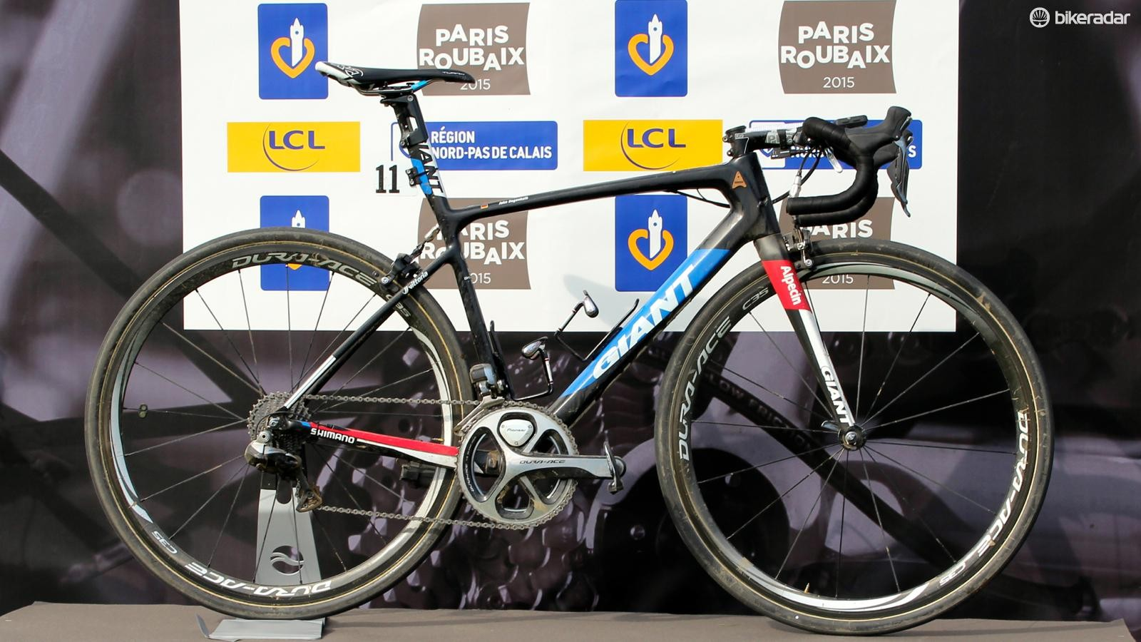 The winning bike of the 2015 Paris-Roubaix, the 2014 Giant Defy Advanced SL