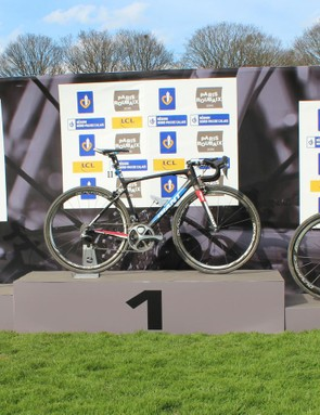 In the infield of the Roubaix velodrome, race organizers created a bike podium next to the riders' podium. Zdenek Stybar's Specialized S-Works Roubaix is at left and Greg Van Avermaet's BMC GranFondo RBX is at right