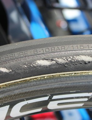The clincher tread suggests nearly twice the pressure of what riders use at Paris-Roubaix