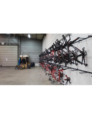 Most of one wall is given over to bikes, with Ridley Dean TT machines on top and Helium SLs on the bottom, along with the odd Noah SL