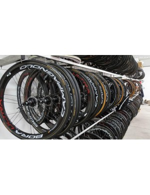 Along from the bikes, this rack is a cornucopia of carbon Campagnolo delights…
