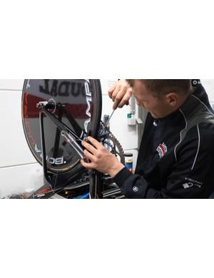 This Ridley Dean TT bike needs its rear brake setting up