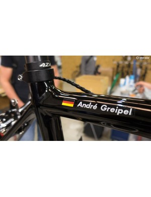 One of the bikes being worked on carries a very familiar name