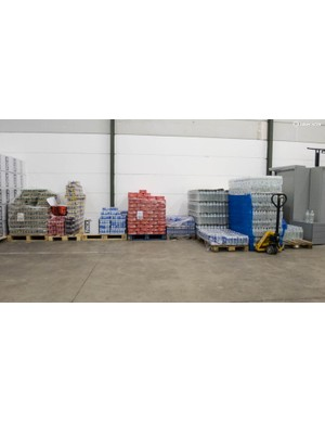 Pro teams consume immense quantities of soft drinks and bottled water – this is only about half of the total amount stored
