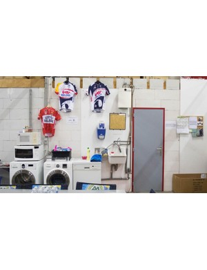 Although the second title sponsor has changed, Lotto Belisol memorabilia isn't hard to find. Note the washing machines, essential for kit cleaning