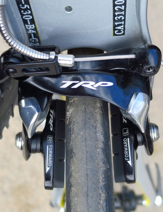 The TRP rear brake is a standard affair to adjust