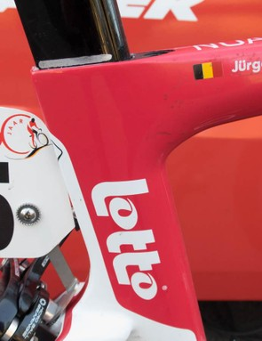As pro as it gets - note the mark on the post to record the correct saddle height