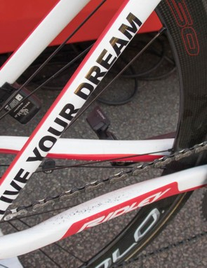 Lotto Soudal's team slogan is plastered up the seatstay