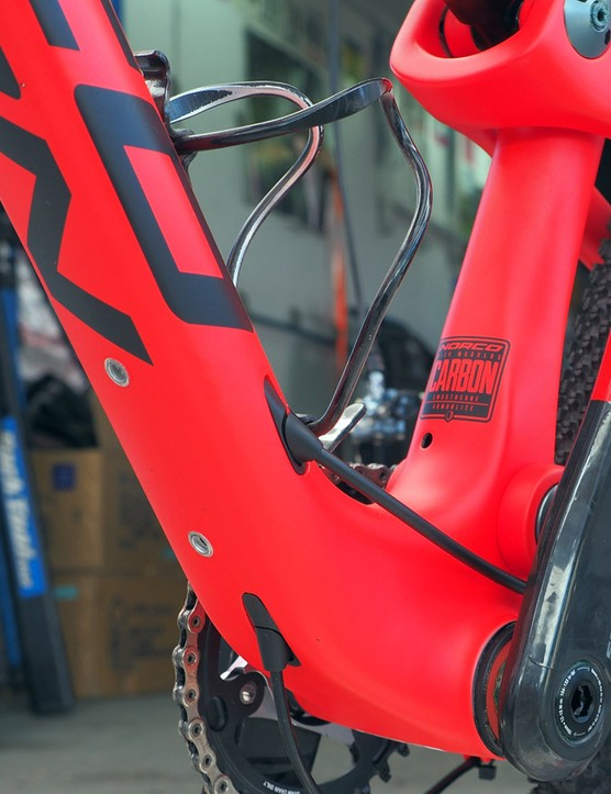 Norco's new Revolver will use a PF92 press-fit bottom bracket shell along with an array of internal routing ports. In addition to the single bottle mount inside the main triangle, there's another one underneath the down tube