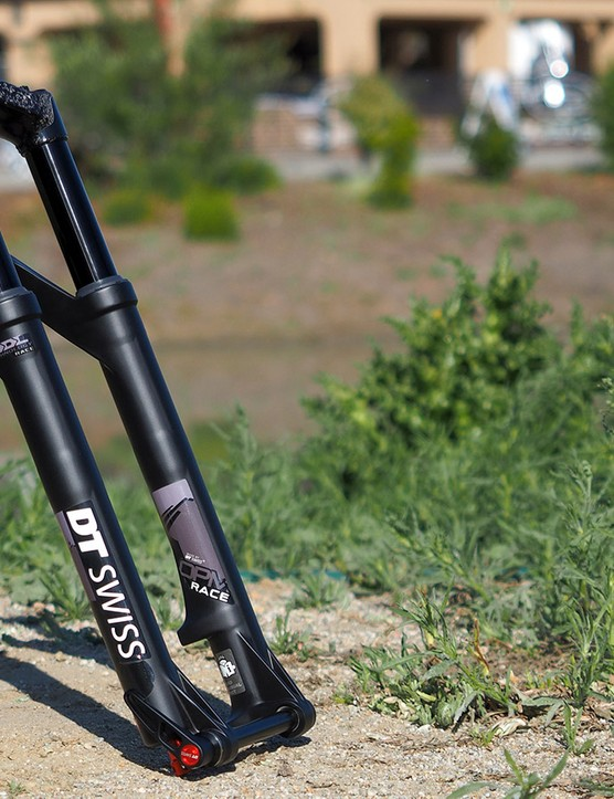 The new DT Swiss OPM O.D.L. Race fork features a carbon fibre crown and steerer, magnesium lower tubes, a three-position damper and an ultralight weight of just 1,480g (3.26lb) - and that's including the 15mm thru-axle