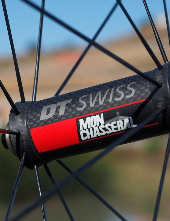Among the weight saving tricks used on the new DT Swiss Mon Chasseral road wheels are a carbon fibre front hub shell and a partially carbon rear one
