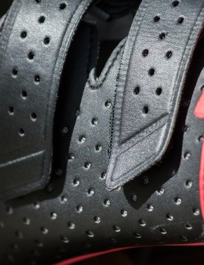 Much of the shoe is made up of mesh-backed perforated synthetic leather