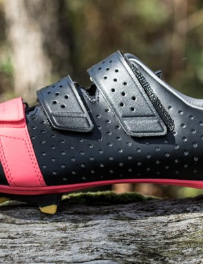 We like that the angled heel tread sits perfectly level with the additional height of a cleat