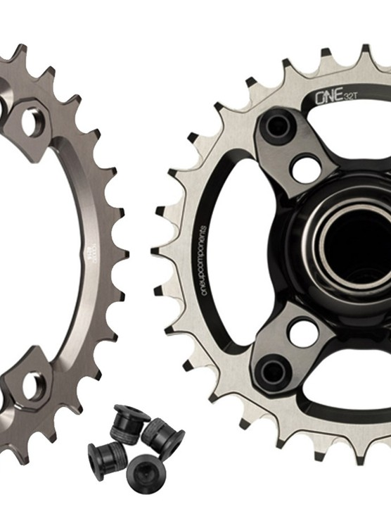 The stock Shimano XTR M9000 rear derailleur doesn't have enough capacity to handle a two-chainring setup with the expanded-range cassette. Naturally, OneUp will also offer its own narrow-wide chainrings specifically to fit the asymmetrical XTR spider, too