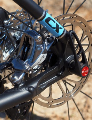 The 142x12mm thru-axle rear dropouts feature post mount disc brake tabs sized for a 140mm rotor (or 160mm ones with an adapter)