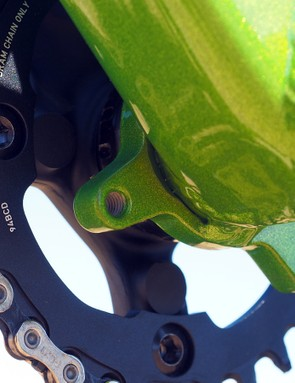 ISCG tabs are welded in place around the threaded bottom bracket shell on the revamped Turner Burner