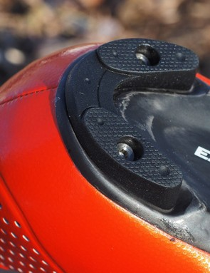 The heel pad is replaceable and is held in place with two titanium bolts