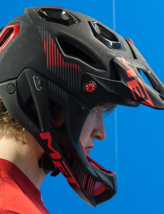 MET's lightweight full-face Parachute lid is a popular choice for enduro riders